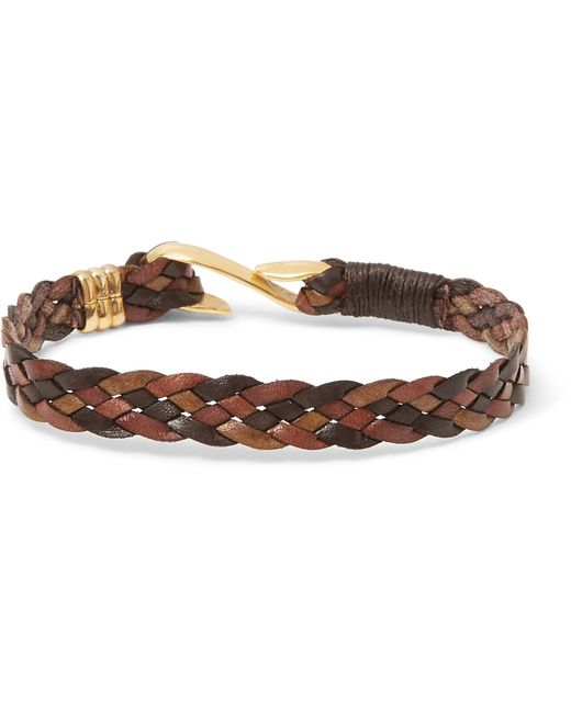Paul Smith | Brown Woven Leather Gold-tone Bracelet for Men | Lyst