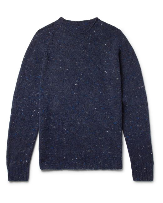 Anderson & Sheppard - Blue Mélange Virgin Wool And Cashmere-blend Sweater for Men - Lyst