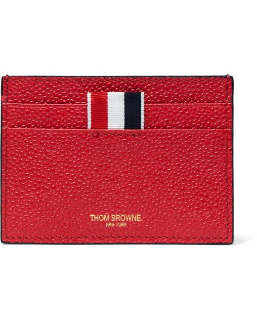 Thom Browne - Red Grosgrain-trimmed Pebble-grain Leather Cardholder for Men - Lyst