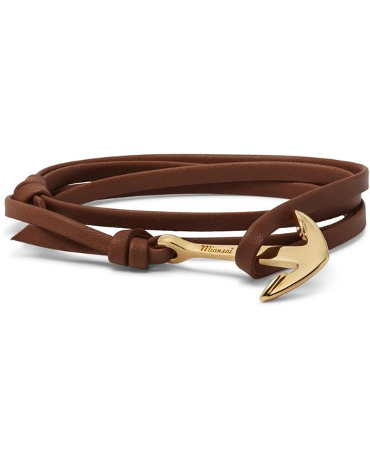 Miansai - - Anchor Gold-plated Leather Wrap Bracelet - Brown for Men - Lyst