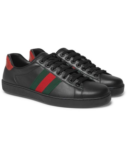 Gucci | Black Ace Snake-trimmed Leather Sneakers for Men | Lyst