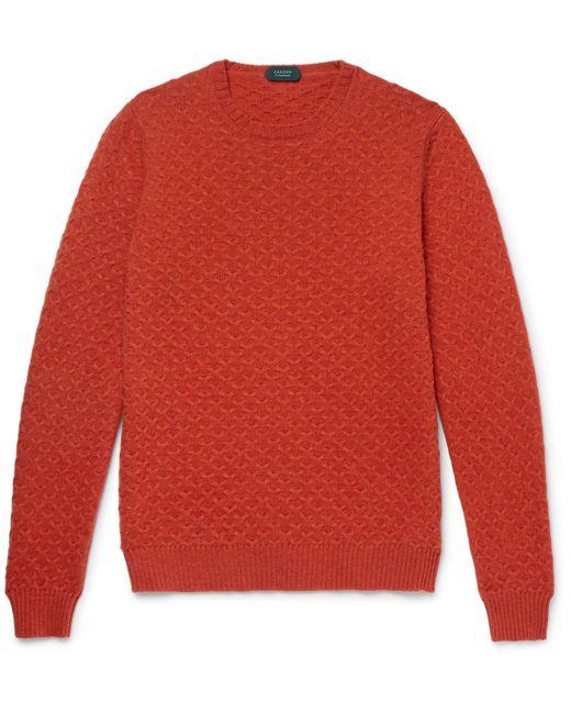 Incotex | Orange Textured-knit Virgin Wool Sweater for Men | Lyst