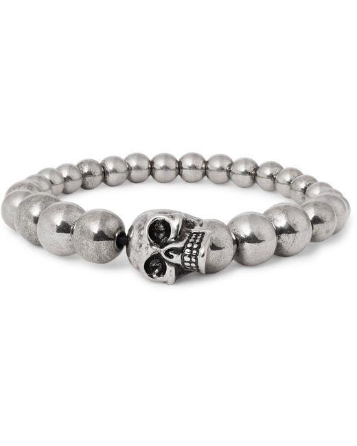 Alexander McQueen - Metallic Silver-tone Beaded Skull Bracelet for Men - Lyst