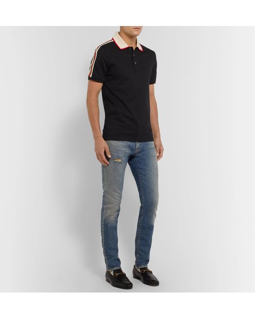d6d52822b ... Gucci - Black Slim-fit Webbing-trimmed Stretch-cotton Piqué Polo Shirt  for ...