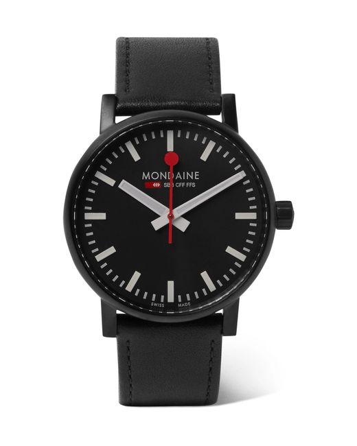 Mondaine - Black Ev02 Brushed Stainless Steel And Leather Watch for Men - Lyst