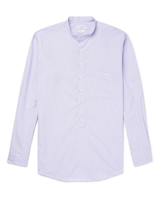 Richard James - Blue Grandad-collar Striped Cotton Shirt for Men - Lyst