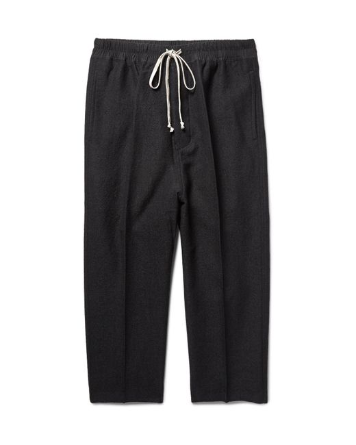 Rick Owens | Black Astaires Cropped Slim-fit Woven Drawstring Trousers for Men | Lyst
