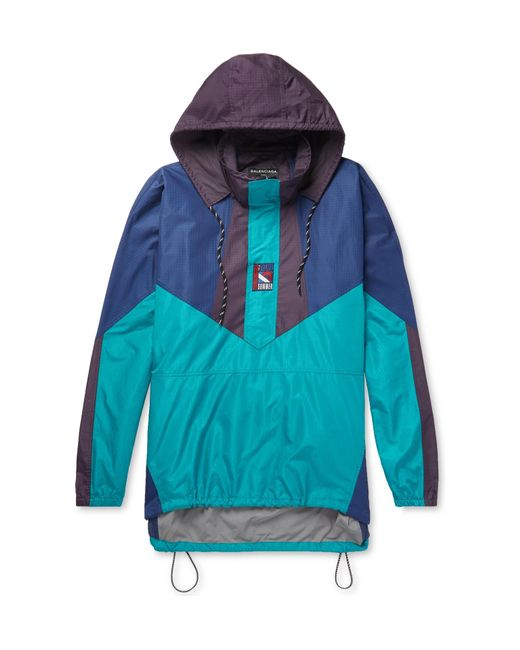 Balenciaga - Blue Colour-block Ripstop Hooded Half-zip Jacket for Men - Lyst