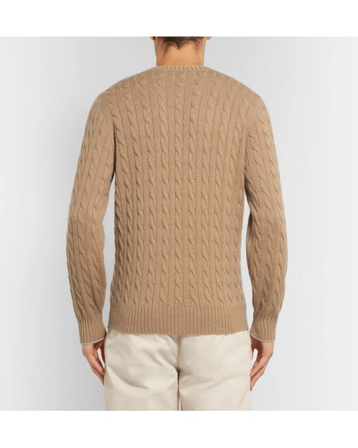 3a25789645f888 brunello-cucinelli-beige-Contrast-tipped-Cable-knit-Cashmere-Sweater.jpeg