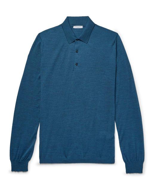 Boglioli - Blue Slim-fit Mélange Virgin Wool Polo Shirt for Men - Lyst