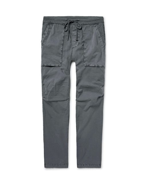 James Perse | Gray Slim-fit Stretch-cotton Poplin Cargo Trousers for Men | Lyst