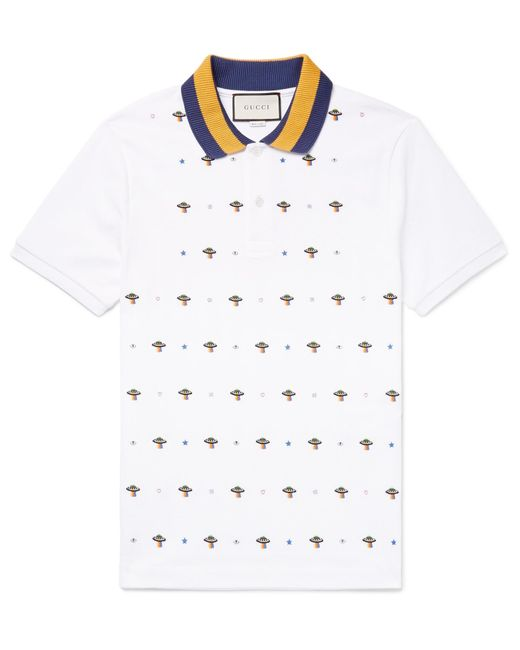 4ec1200b41f5 Gucci - White Slim-fit Ufo-embroidered Stretch-cotton Piqué Polo Shirt for  ...