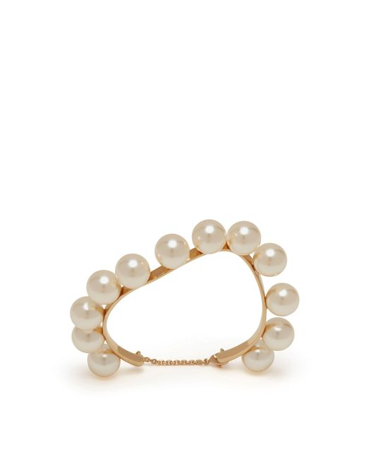 Mulberry - Multicolor Twist Pearl Bracelet In Cream Brass And Pearls - Lyst