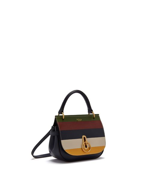 Mulberry - Black Small Amberley Satchel In Multicolour Silky Calf Horizontal Stripe - Lyst