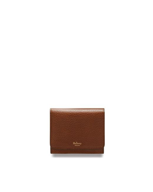 Mulberry - Brown Small Continental French Purse In Oak Natural Grain Leather - Lyst