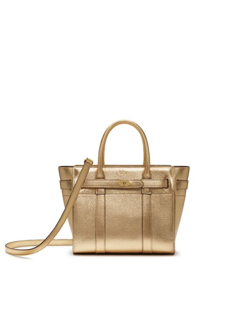 Mulberry - Mini Zipped Bayswater In Gold Metallic Printed Goat - Lyst