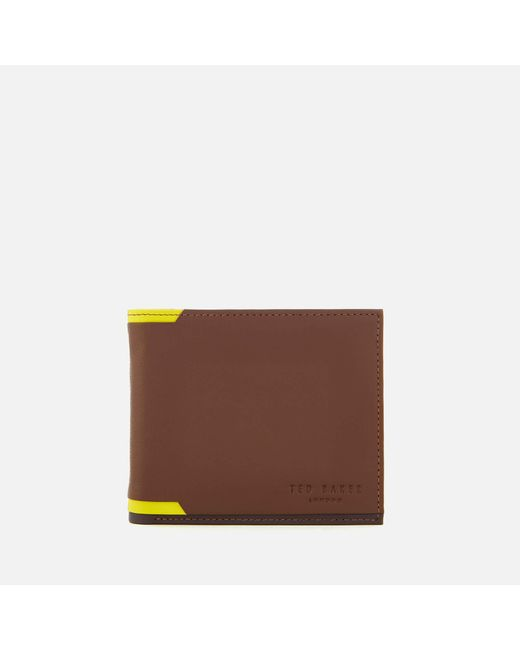 Ted Baker - Brown Baldi Corner Detail Bifold Wallet for Men - Lyst