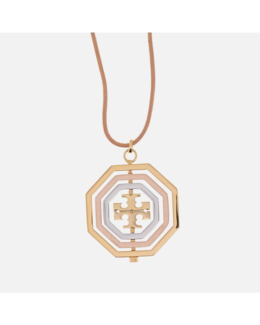 Tory Burch - Metallic Logo Spinner Pendant Necklace - Lyst