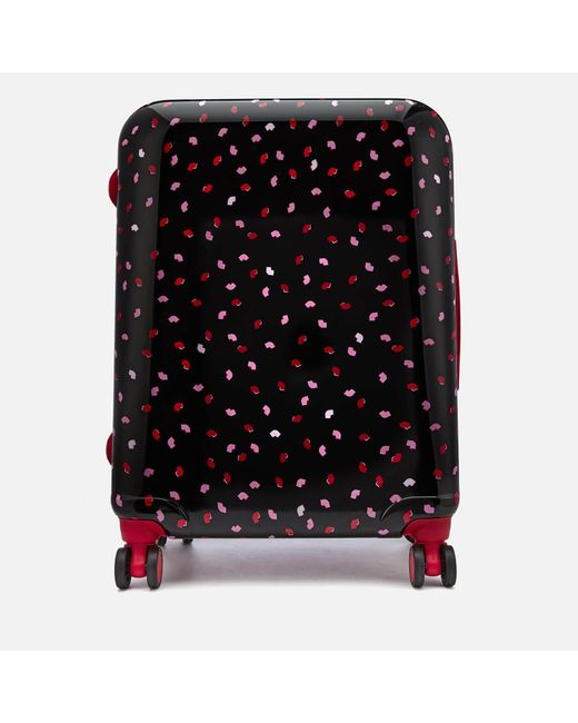 Lulu Guinness - Black Medium Confetti Lip Print Hardside Suitcase - Lyst