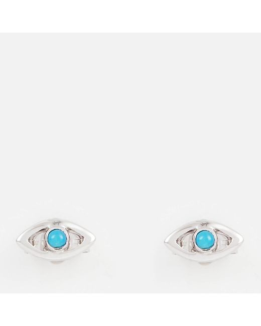 Missoma - Multicolor Silver Evil Eye Turquoise Studs - Lyst