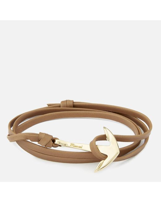 Miansai - Multicolor Leather Bracelet With Gold Anchor for Men - Lyst