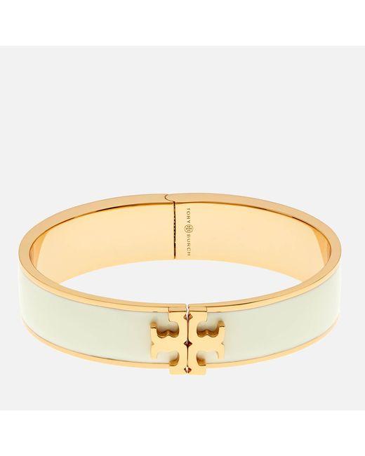 Tory Burch - Metallic Raised Logo Enamel Hinged Bracelet - Lyst