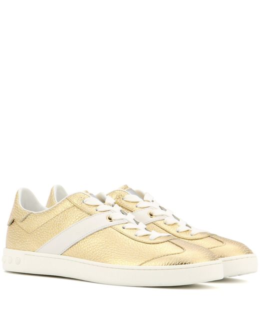 Tod's   Metallic Leather Sneakers   Lyst