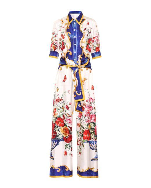 Dolce & Gabbana - Multicolor Printed Silk Jumpsuit - Lyst
