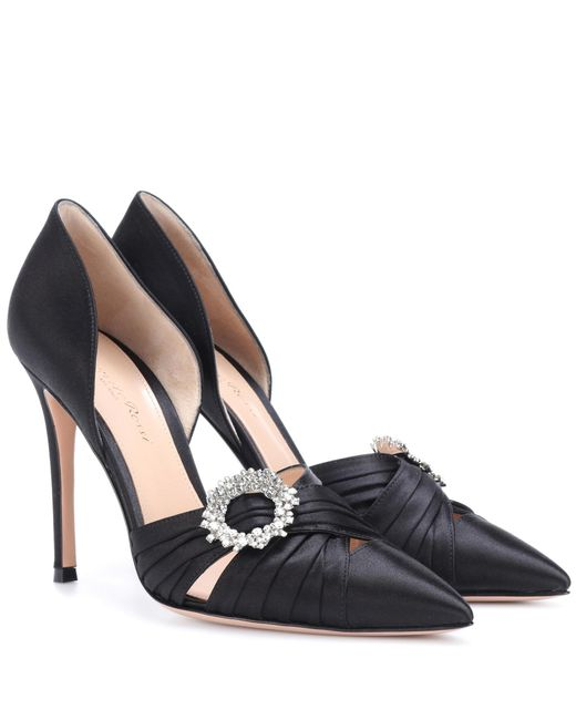 Gianvito Rossi - Black Crystal-embellished Satin Pumps - Lyst
