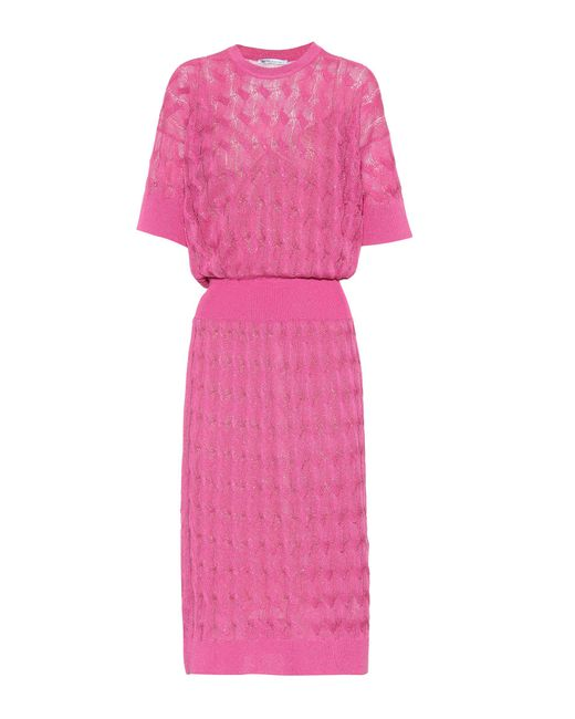Agnona - Pink Knitted Sweater Dress - Lyst