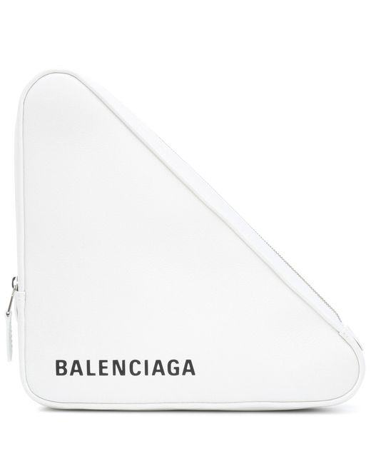 Balenciaga - White Triangle M Leather Clutch - Lyst