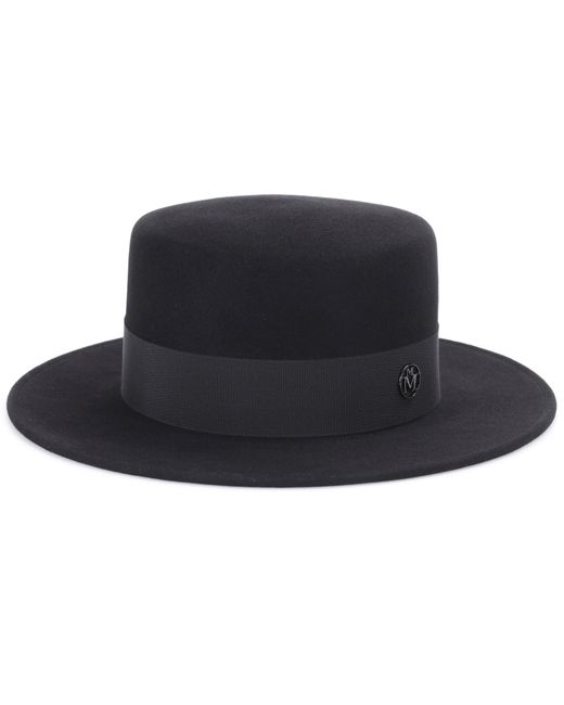 Maison Michel - Black Kiki Felt Boater Hat for Men - Lyst