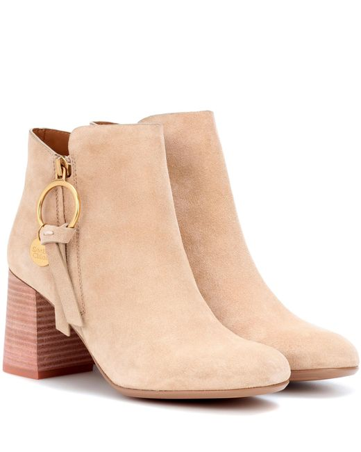 See By Chloé - Natural Louise Suede Ankle Boots - Lyst