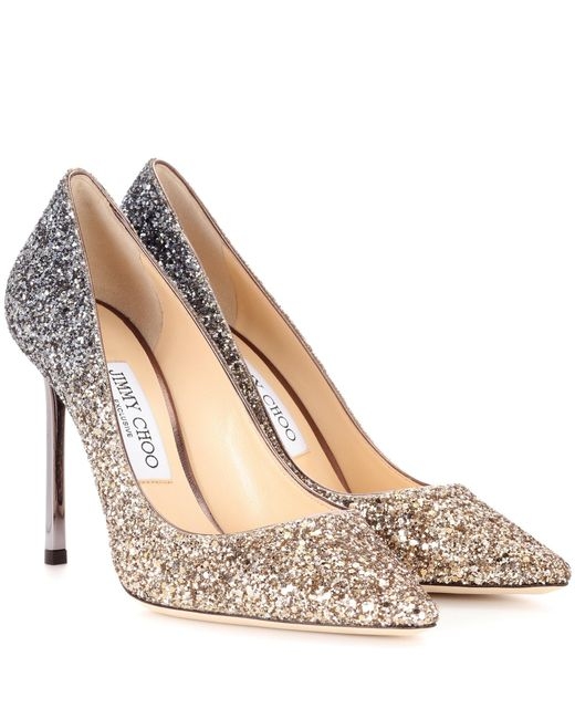 Jimmy Choo - Metallic Exclusive To Mytheresa. Com – Romy 100 Glitter Pumps - Lyst
