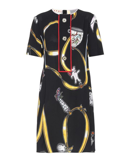 Marni - Black Printed Crêpe Dress - Lyst