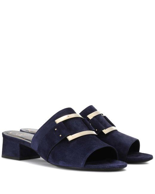 Roger Vivier Blue Suede Sandals
