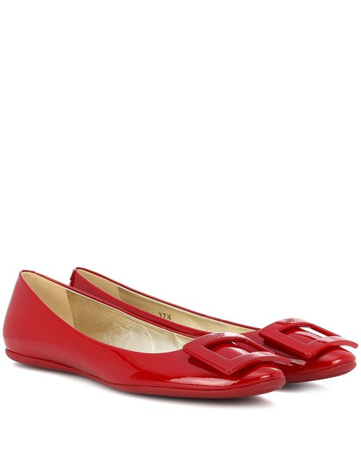 Roger Vivier - Red Gommette Patent Leather Ballerinas - Lyst