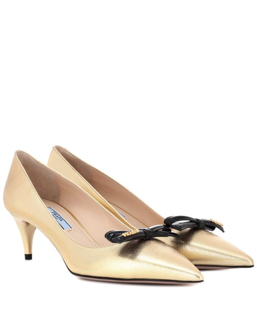 Prada - Metallic Leather Pumps - Lyst