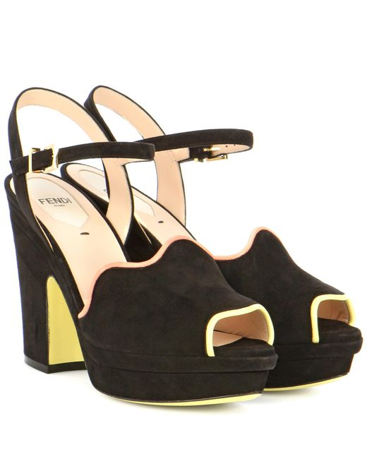 Fendi - Black Suede Platform Sandals - Lyst