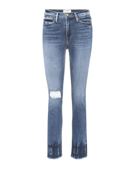 FRAME - Blue Le High Street Distressed Jeans - Lyst