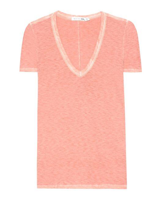 Rag & Bone | Orange V-neck Cotton T-shirt | Lyst