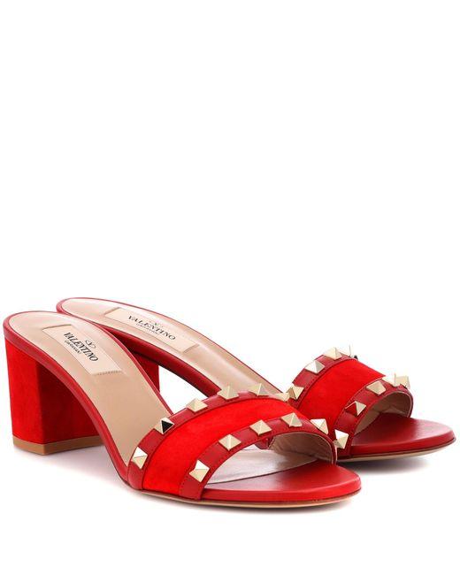 Valentino - Red Garavani Rockstud Suede Mules - Lyst