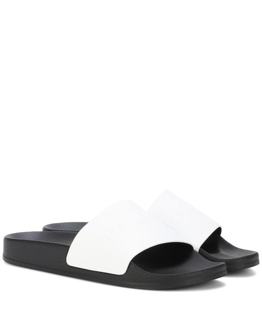 Balmain - White Leather And Rubber Slides - Lyst