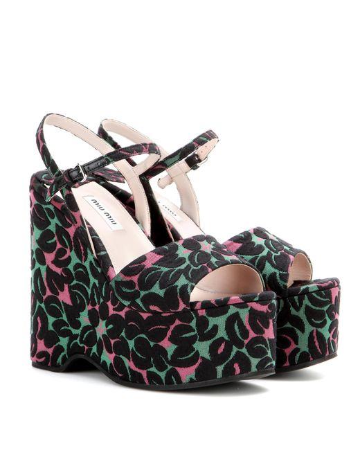 Miu Miu | Black Jacquard Wedge Sandals | Lyst