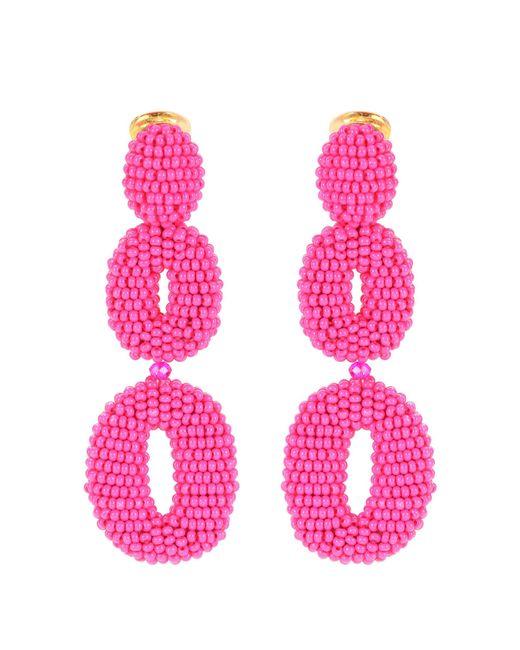 Oscar de la Renta - Pink Beaded Clip-on Earrings - Lyst
