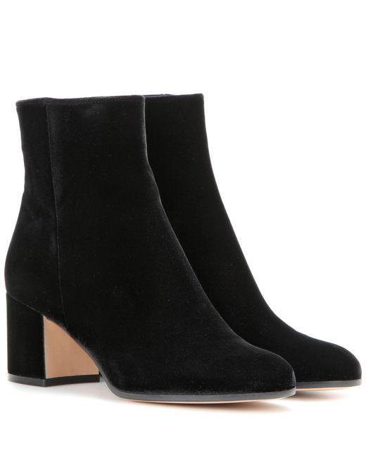 Gianvito Rossi | Black Margaux Velvet Ankle Boots | Lyst