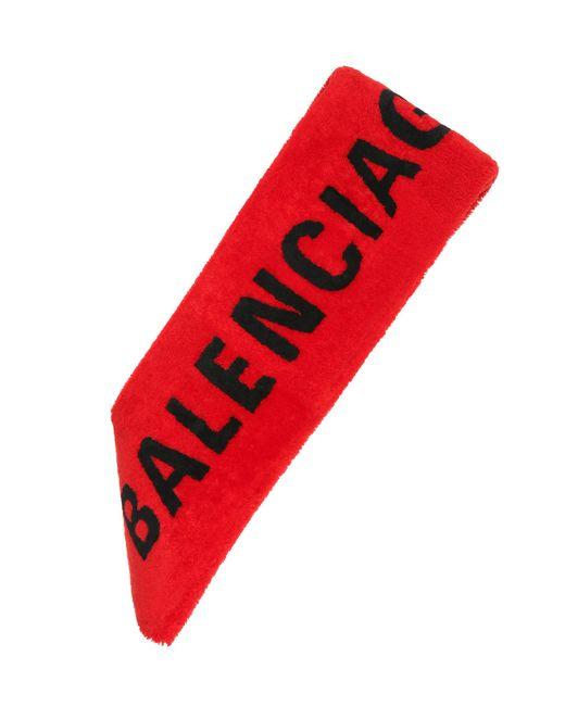Balenciaga - Red Shearling Scarf - Lyst