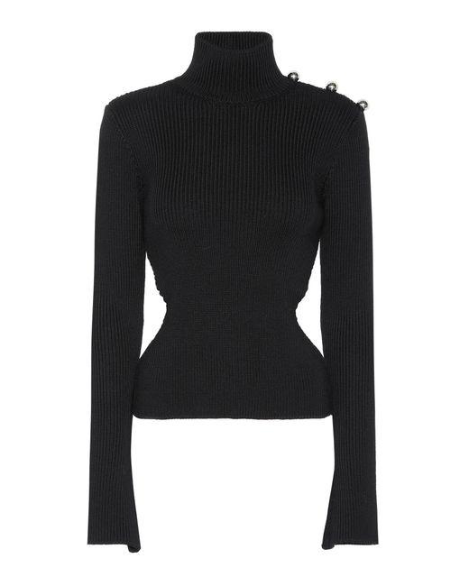 David Koma - Black Ribbed Turtleneck Wool Sweater - Lyst