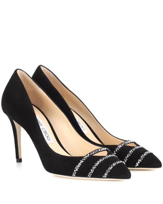 Jimmy Choo - Black Bethan 85 Embellished Suede Pumps - Lyst