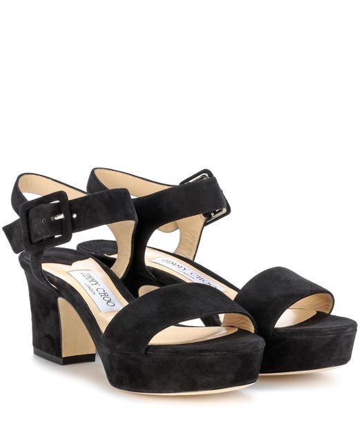 Jimmy Choo - Black Harriet 65 Suede Sandals - Lyst